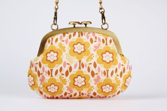 Mushroom purse - Flowers in pink and mustard - metal frame purse with shoulder strap