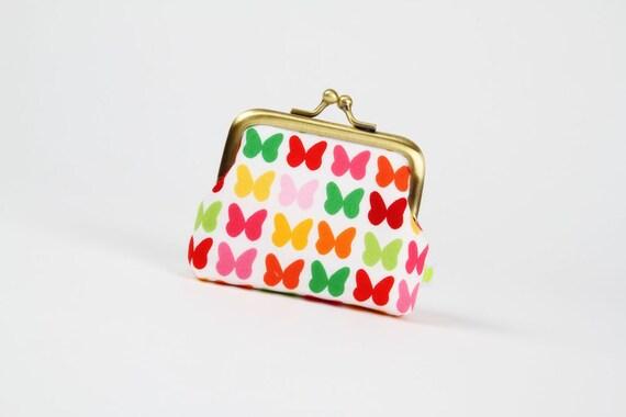 Deep mum - Butterflies in pink and green - metal frame purse
