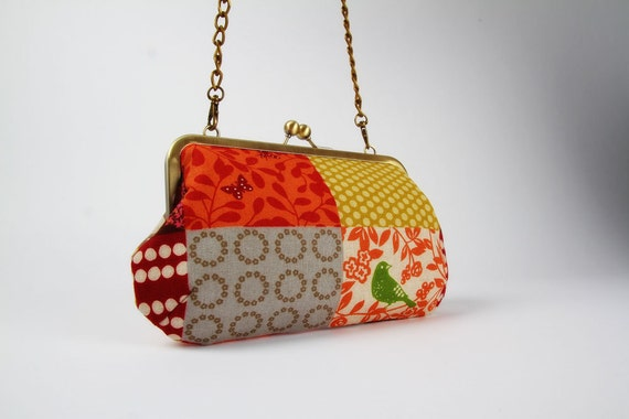 Little handbag - Patchwork in spice - metal frame purse with shoulder strap