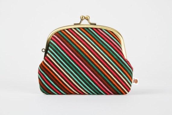 Pop up - Papillion stripes - double metal frame purse