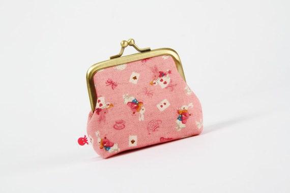 Deep mum - White rabbit on pink - metal frame purse