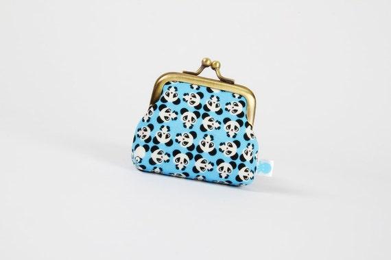 Deep baby - Tiny pandas on blue - metal frame purse