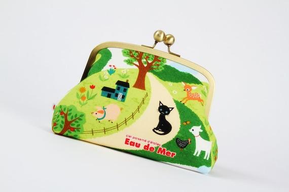 Travel pouch - Eau de mer Farm life - metal frame clutch bag