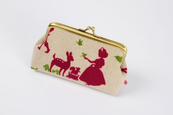 Little pouch - Snow white in fuhsia - metal frame pouch
