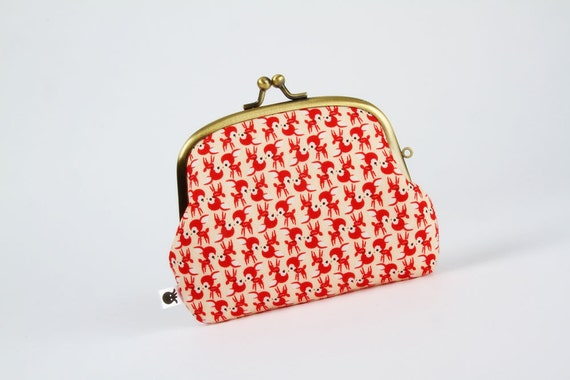 Pop up - Chibi deers in red - double metal frame purse