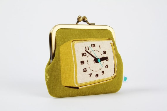 Siamese - Clocks in green - double metal frame purse