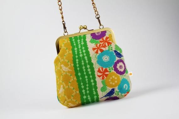 Clutch bag - Floral stripes in green - metal frame purse with shoulder strap