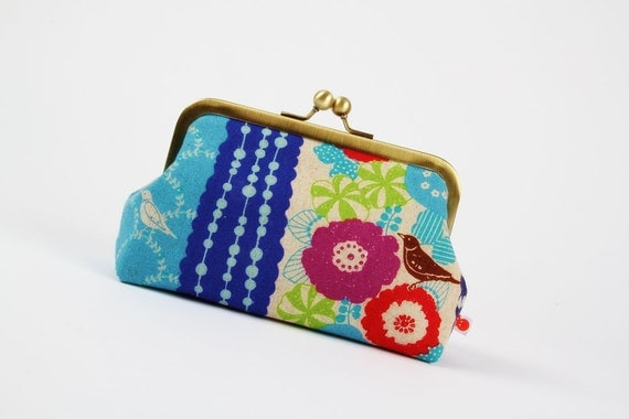 Bag pouch - Etsuko floral stripes in blue - metal frame pouch