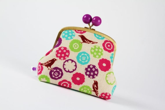 Color bobble pouch - Flowers in bright - metal frame clutch bag
