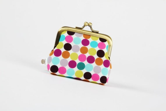 Deep mum - Mod dots in purple - metal frame purse