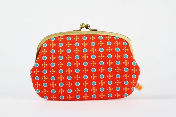 Big siamese - Petit Pan Tsukiko rouge  - double metal frame purse