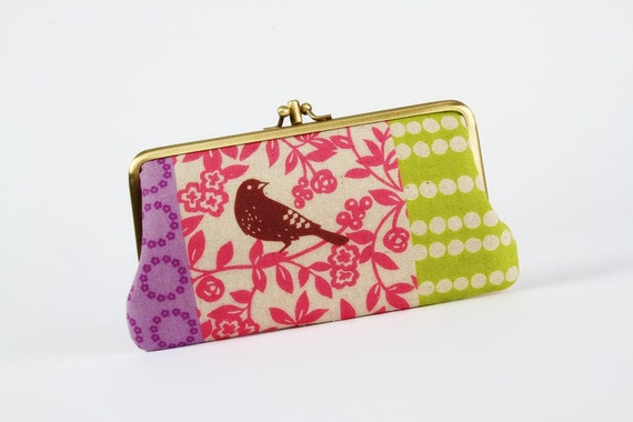 Long siamese - Echino patchwork in spring - double metal frame purse