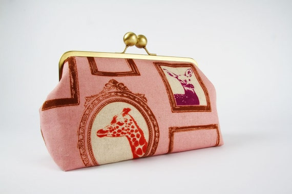 Home pouch - Etsuko Frames on pink - metal frame clutch bag