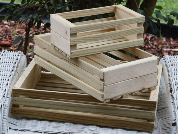 Large New Wooden Storage Box Diy Crates Toy Boxes Set: Recycled Wood Crate Desk Accessory Organizer Tray Nesting
