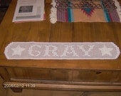 filet crochet name plaques