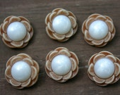 Carved Wood Look Flower with Pearlized Center Poly Shank Button 5/8 inch (16 mm) - set of 6
