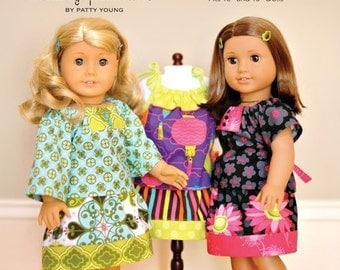 SALE Modkid Mini Nina Dolly Sized Peasant Top and Skirt Sewing Pattern by Valerie Haberer for Patty Young