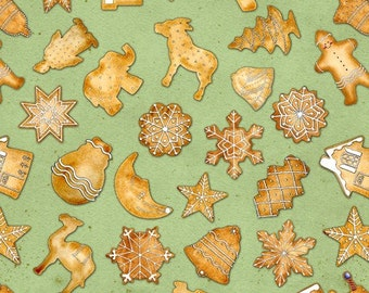 SALE Cookie Cutter Christmas Green by J Wecker-Frisch for Wilmington Prints Fabrics - 1 yard