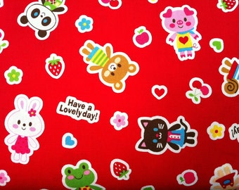 Have A Lovely Day Kawaii Friends Fruit and Flowers on Red Japanese Import Cotton Fabric - 1 YARD
