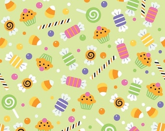 Trick or Treat Halloween Tossed CANDY Candies Green Cotton Riley Blake Fabrics  - 1 Yard