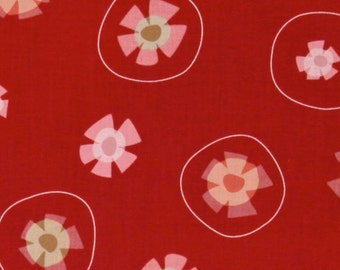 Garden Party Tossed Flowers Tomato Red by Jane Dixon for Andover Fabrics - 1 yard