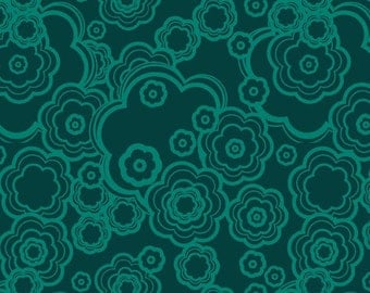 Dazzle Tonal Flowers Floral Teal Blue by Melissa Averinos for Andover Fabrics - 1 yard