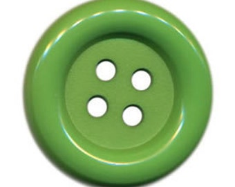 Set of 4 Bright Apple Green Big Poly Nylon Button Large Buttons 2 Inches or 51mm