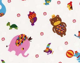Rainbow Zoo Tossed Animals in Multi by Amy Blay for Red Rooster Fabrics - 1 yard