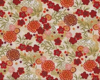 SALE Kimono Floral Metallic Gold by The Henley Studio for Andover Makower UK Fabrics - 1 yard