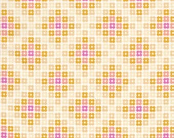 Weekends Hopscotch Criss Cross Squares Butter by Erin McMorris for Free Spirit Fabrics - 1 yard
