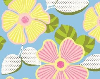 Arianna Daisy Diva Flowers Floral Blue Pink by Jennifer Young Benartex Fabrics  - 1 Yard