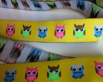 Bright Owls on Yellow with Pink Lime and Green Woven Jacquard 7/8 inch Ribbon Trim - 2 yards