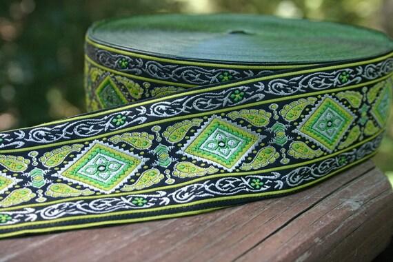 Jacquard Paisley Diamond Lime Green Black Yellow Ribbon 1 3/4 inch width - 2 yards
