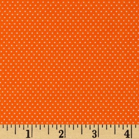 ORANGE Tangerine Mini Dot Pin Dot Polka Dots Cotton FABRIC - 1 Yard