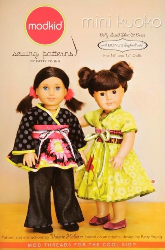 FREE SHIP Modkid Mini Kyoko Dolly Sized Shirt Dress and Pants Pattern by Valerie Haberer for Patty Young