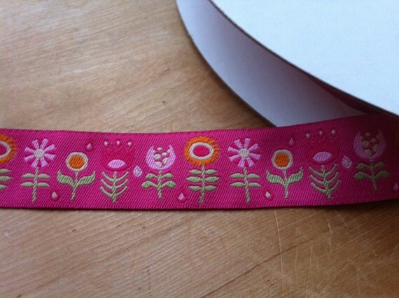 Hot Pink Funky Flowers by Jessica Jones Woven Jacquard 7/8 inch Ribbon Trim - 1 yard
