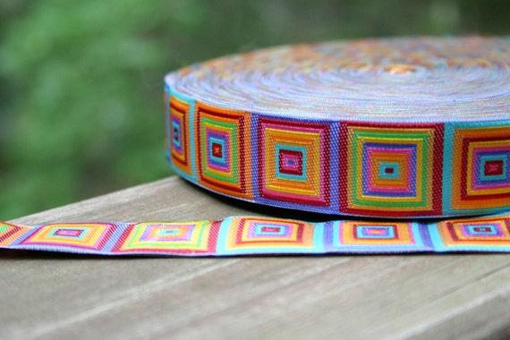 Rainbow Cubes Cubic Squares Multicolor Woven Jacquard Trim 1 inch width - 2 yards