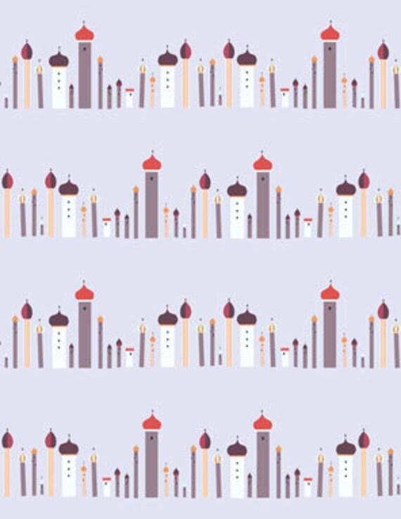 1001 Peeps TOWERS Row Stripe in Jinnee Orange by Elizabeth Lizzy House for Andover Fabrics - 1 yard