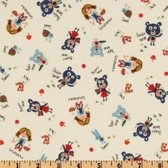 Baby Bear Goldilocks and the Three Bears Retro Look on Cream by Michael Miller Fabrics  - 1 yard