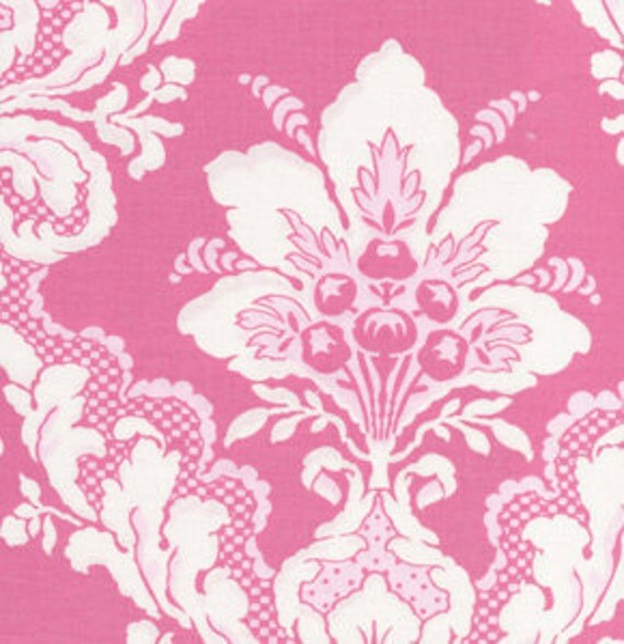 Tea Cakes Faded Wallpaper Damask Rose Hips Pink by Verna Mosquera for FreeSpirit Cotton Fabric - HALF yard