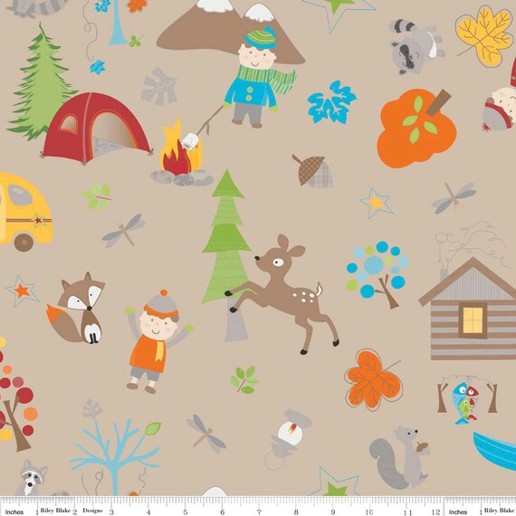 Fox Trails Main Tossed Camping Outdoor Fun Brown by Doohikey Designs Cotton Riley Blake Fabrics  - 1 Yard