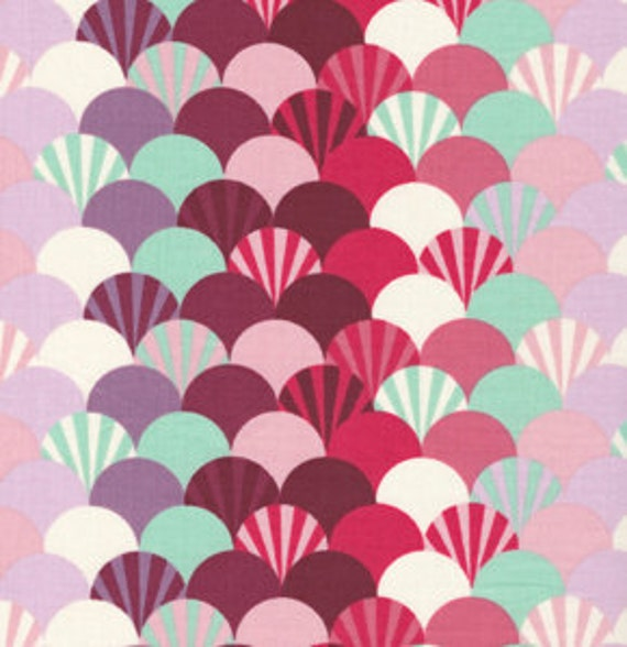 Parisville FANS Pomegranate by Tula Pink for Free Spirit Fabrics - 25 inches by 44 inches