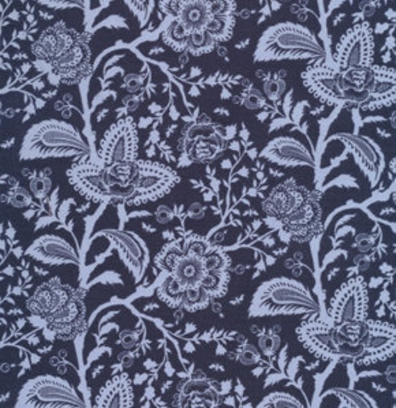 Parisville FRENCH LACE Dusk Navy Blue by Tula Pink for Free Spirit Fabrics - 1 yard, 7 inches plus 10 inches