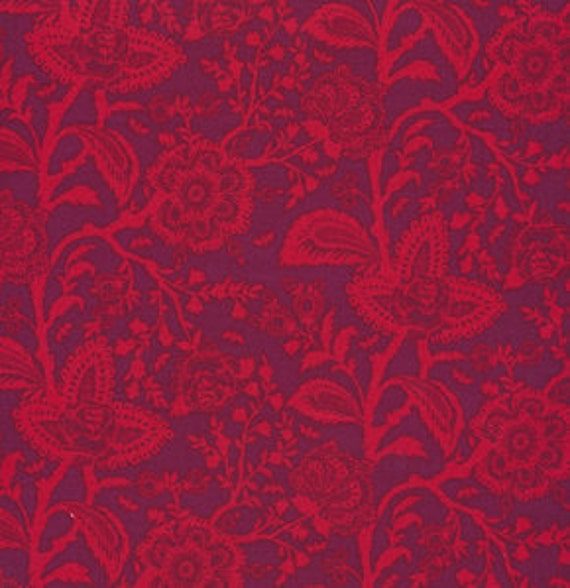 Parisville FRENCH LACE Pomegranate Red Burgundy by Tula Pink for Free Spirit Fabrics - 19 inches by 44 inches