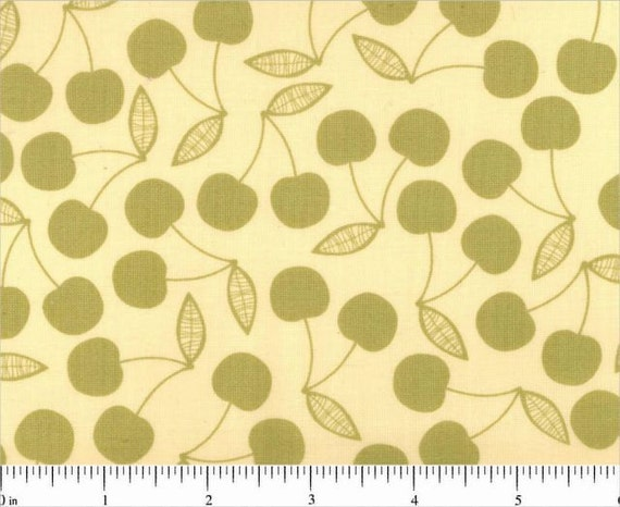 Early Bird Lime Green Tonal Cherries by Cosmo Cricket for Andover Fabrics - 1 yard