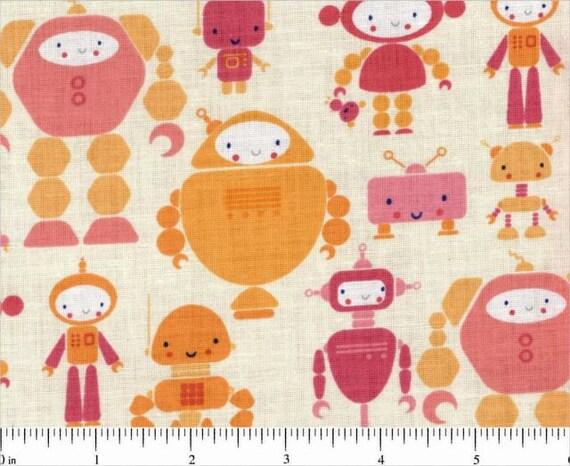 iHeart Cutebots Robots Yellow Orange Pink by Rashida Coleman-Hale for Timeless Treasures - 1 yard
