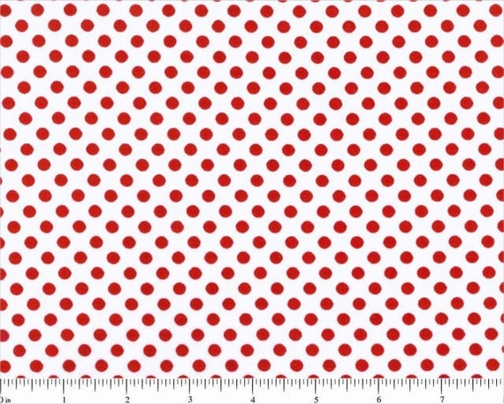 Lots of Dots White with Red Peppermint Dot Polka Dots Cotton FABRIC - 1 Yard