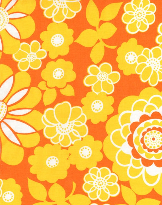 SALE Orange Crush Citrus Grove Orange Yellow Flowers by Allice Kennedy for Timeless Treasures Fabrics  - 1 yard