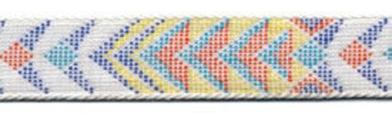 Annaliza Aztec Arrows Blue Orange Yellow White Jacquard Ribbon Trim 9/16 inch wide 3 yards