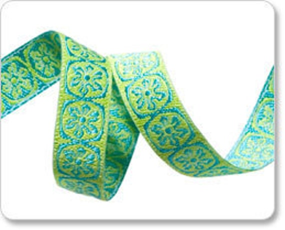 Turquoise and Lime Green Spinning Wheels Medallion Jacquard Ribbon by Anna Maria Horner 3/8 inch width - 2 yards